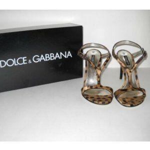 Dolce & Gabbana Leopard T-Strap Sandal Heels 38